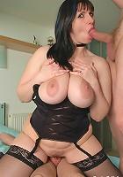 Big tits milf Josephine James sucks and fucks two hard cocks
